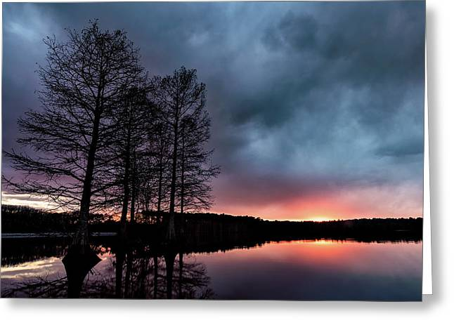 Winter Sunset Greeting Card by Jeremy Clinard