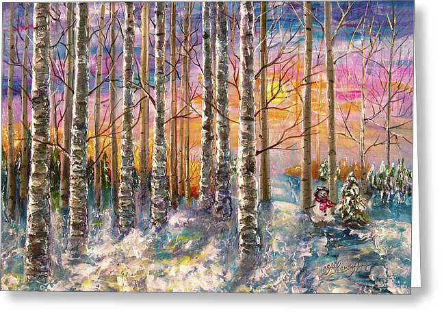 Dylan's Snowman - Winter Sunset Landscape Impressionistic Painting With Palette Knife Greeting Card