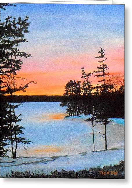 Winter Sunset Laurel Lake Lenox Ma Greeting Card by William Tremble