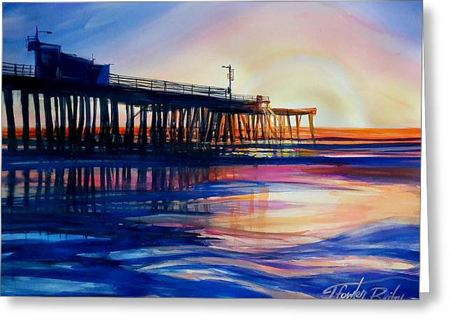 Winter Sunset On Pismo  Pier Greeting Card by Therese Fowler-Bailey