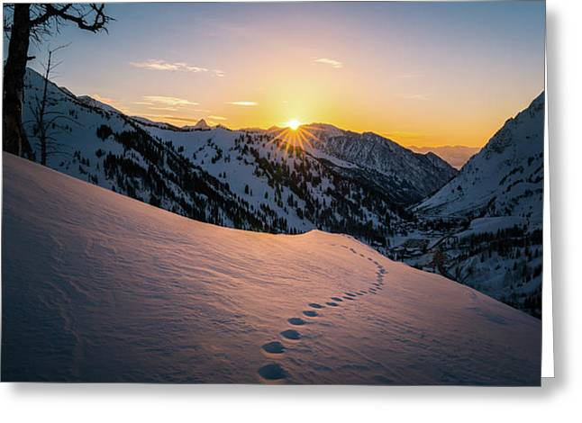 Winter Sunset Over Little Cottonwood Canyon Greeting Card by James Udall