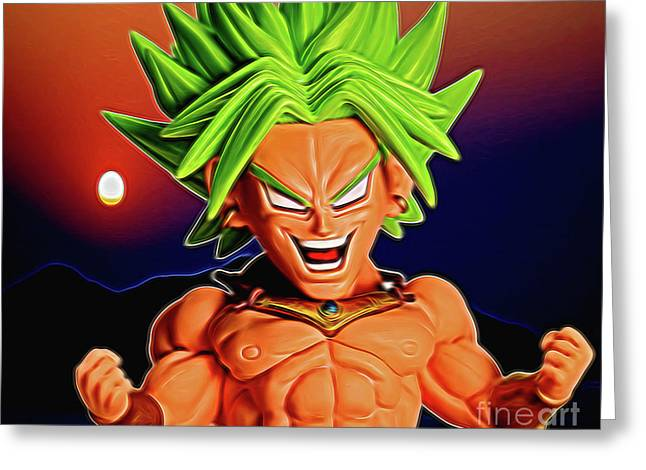 Greeting Card featuring the digital art Sunset Ss Broly by Ray Shiu