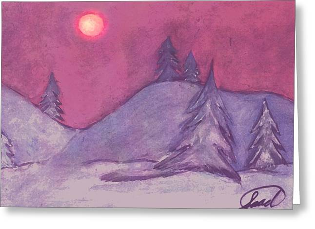 Greeting Card featuring the painting Winter Sunset by Saad Hasnain
