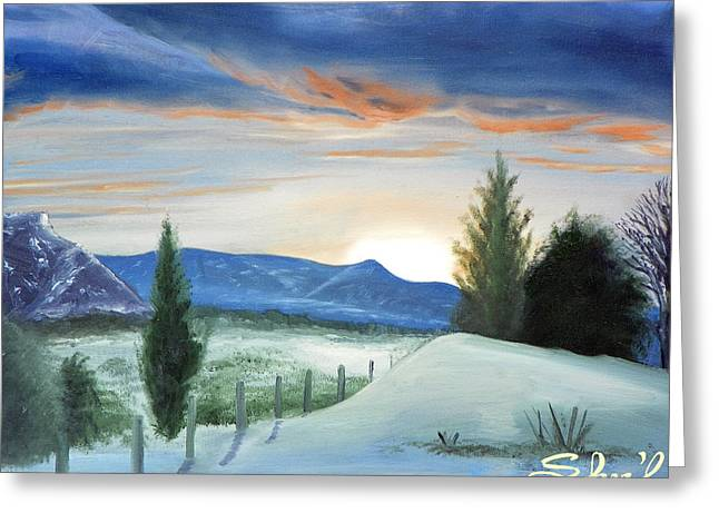 Greeting Card featuring the painting Winter Sunset by Sherril Porter