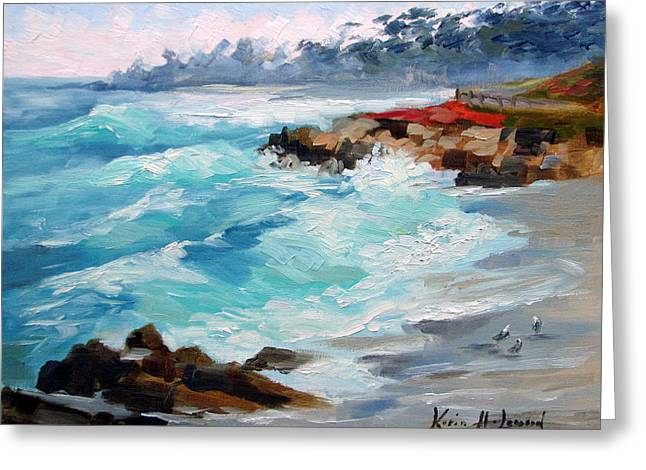 Winter Surf, 17 Mile Drive Carmel Greeting Card by Karin Leonard
