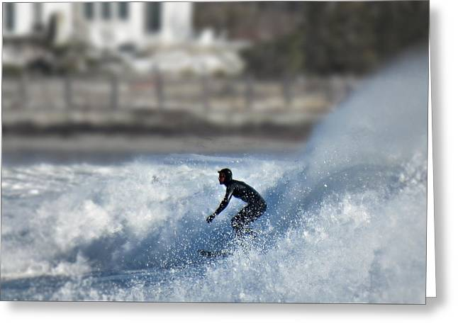 Winter Surf Greeting Card by Thomas Stirling