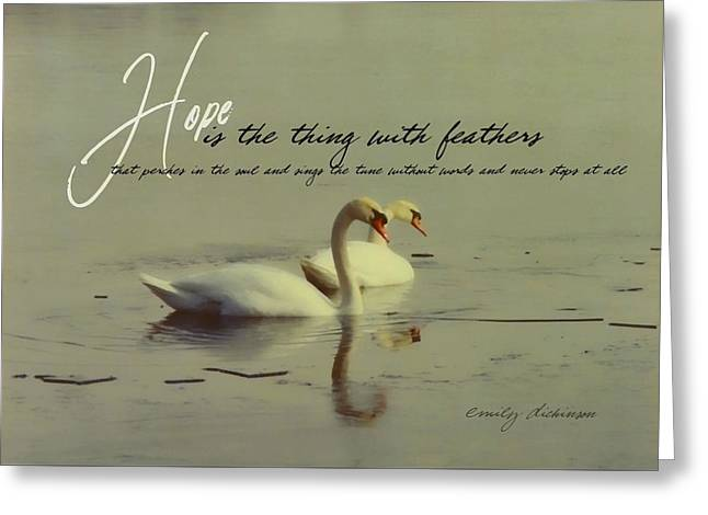 Winter Swans Quote Greeting Card by JAMART Photography