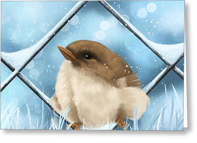 Greeting Card featuring the painting Winter Sweetness  by Veronica Minozzi