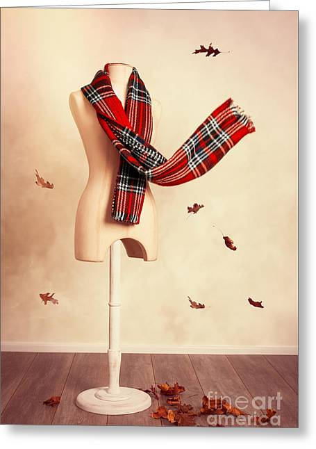 Winter Tartan Scarf With Fall Leaves Greeting Card