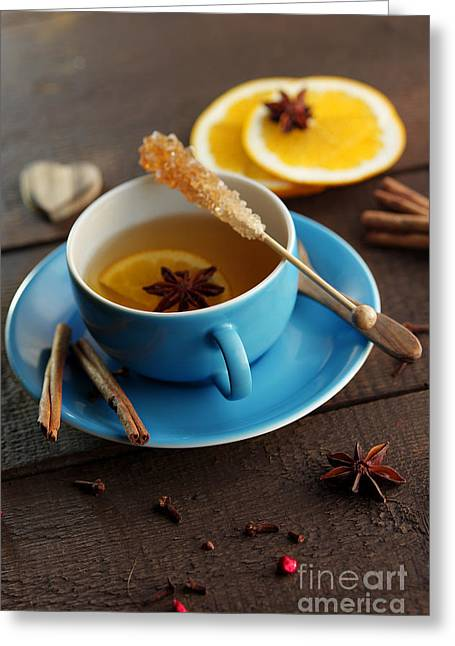 Winter Tea With Ingredients Greeting Card by Tanja Riedel