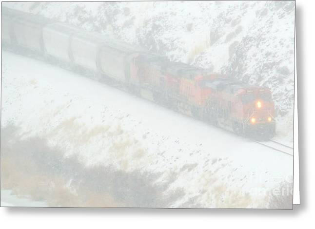 Winter Train Greeting Card by Mike Dawson