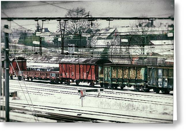 Winter Transport Greeting Card by Wim Lanclus