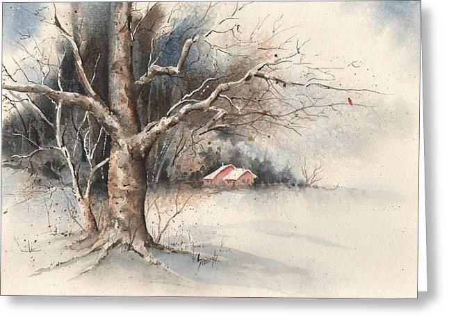 Winter Tree Greeting Card by Sam Sidders