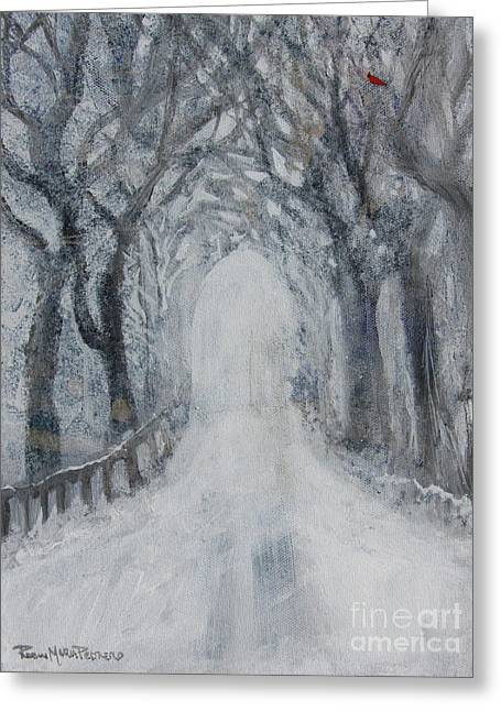 Greeting Card featuring the painting Winter Tree Tunnel by Robin Maria Pedrero