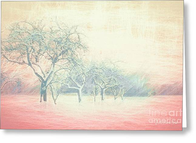 Winter Trees Abstract Greeting Card by Jutta Maria Pusl
