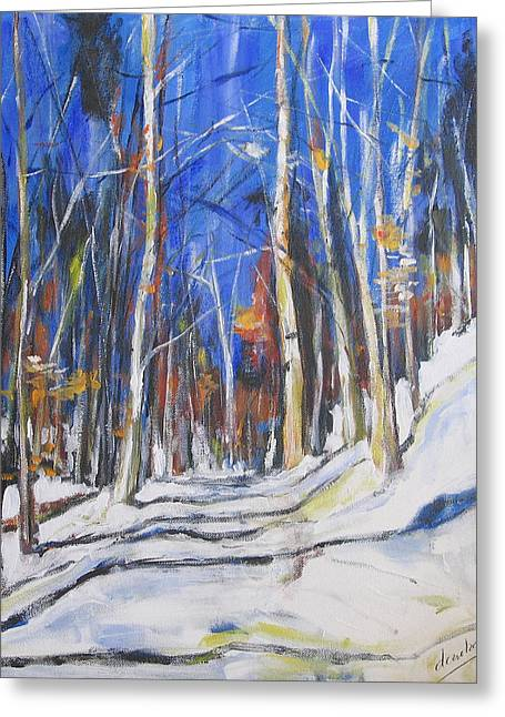 Greeting Card featuring the painting Winter Trees by Debora Cardaci
