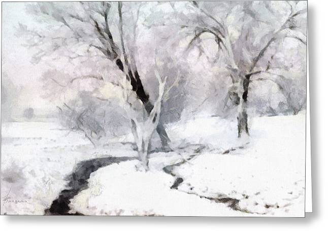 Winter Trees Greeting Card by Francesa Miller
