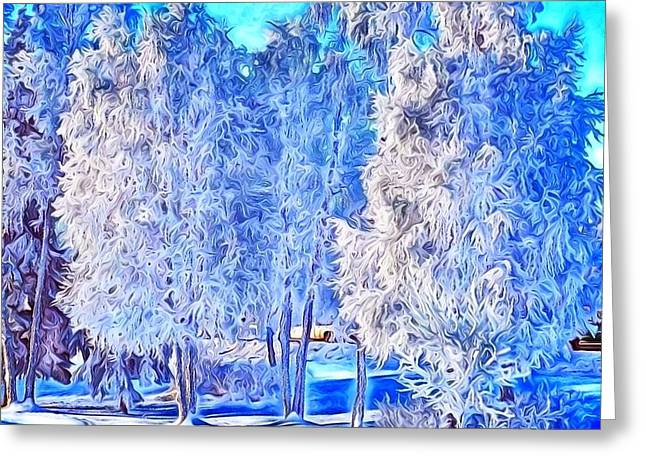 Greeting Card featuring the digital art Winter Trees by Ron Bissett