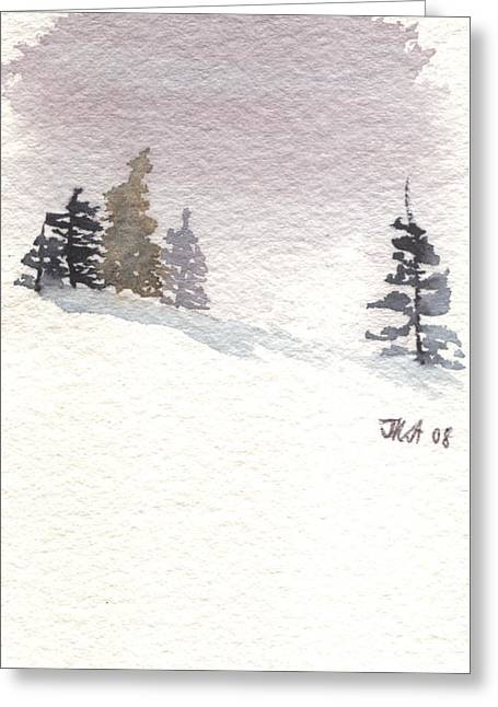Winter Trees With Purple Sky Greeting Card by Jan Anderson