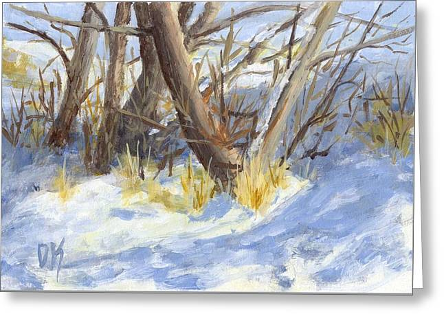 Greeting Card featuring the painting Winter Trunks by David King