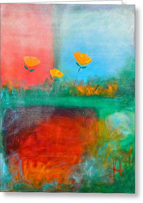Abstract California Poppies Greeting Cards - Winter Tulips Rain and Snow Greeting Card by Johane Amirault