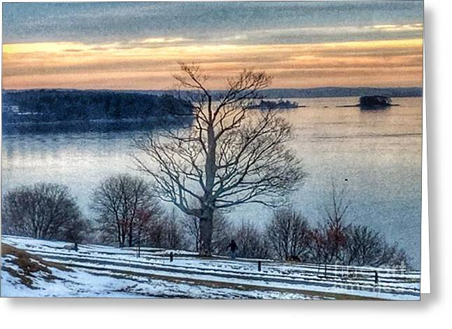 Winter Twilight At Fort Allen Park Greeting Card