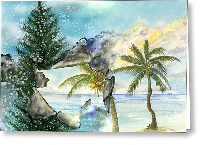 Greeting Card featuring the digital art Winter Vacation by Darren Cannell