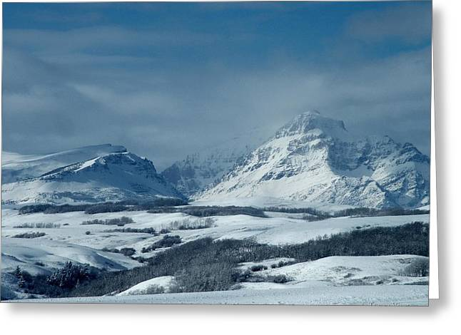 Winter View Of Rising Wolf Mountain Greeting Card