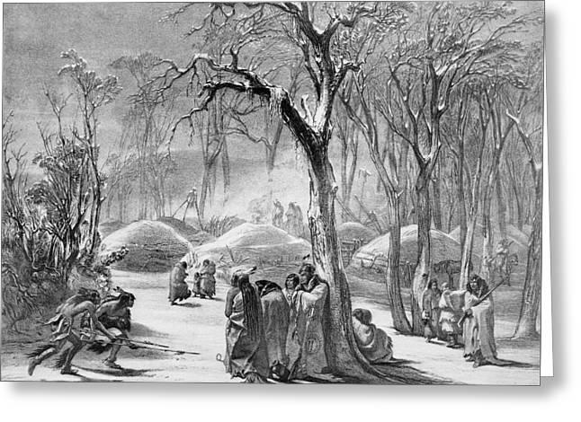 Winter Village Of The Manitaries - Native American Vintage Art Greeting Card