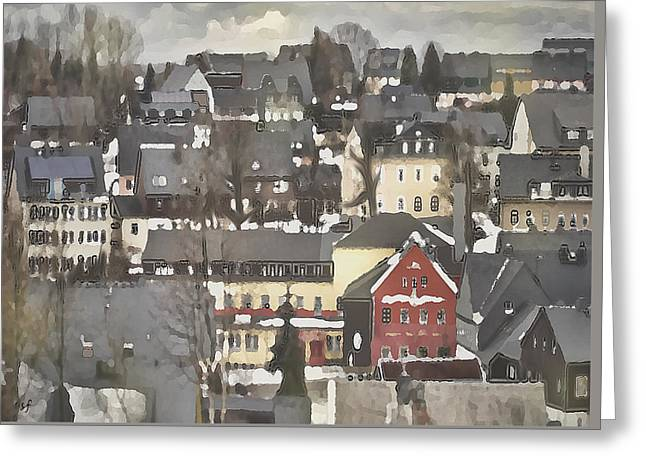 Winter Village With Red House Greeting Card