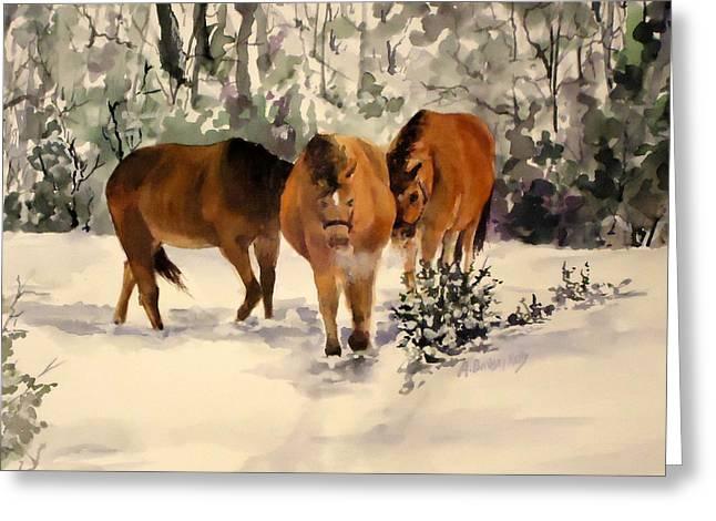 Winter Walk Greeting Card by Andrea Birdsey Kelly