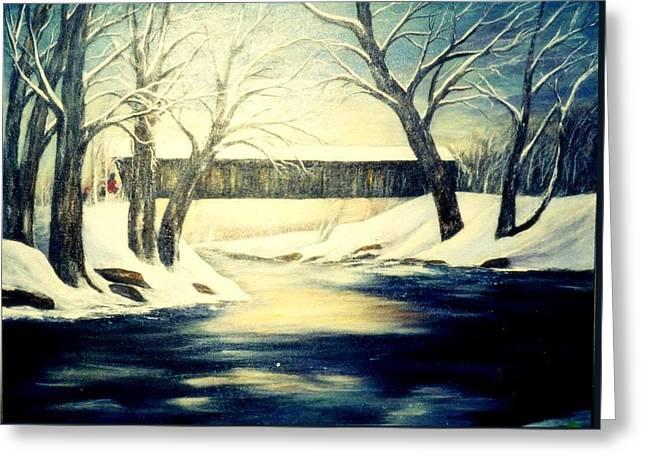 Winter Walk At Bennett's Mill Bridge Greeting Card by Gail Kirtz