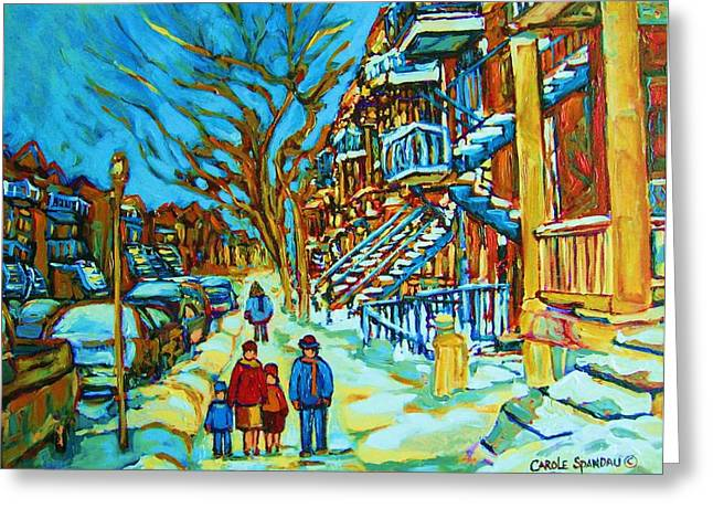 Prince Arthur Restaurants Greeting Cards - Winter  Walk In The City Greeting Card by Carole Spandau