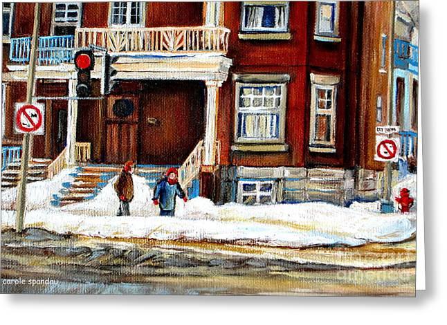 Winter Walk In The City Montreal Snowy Streets Westmount Street Scene Canadian Art Carole Spandau Greeting Card by Carole Spandau
