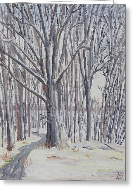 Winter Walk Greeting Card by Robert P Hedden