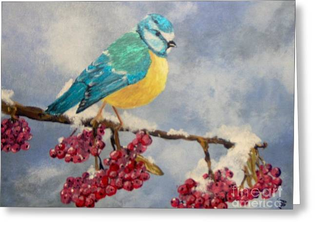 Greeting Card featuring the painting Winter Watch by Saundra Johnson