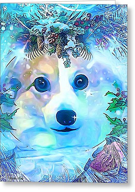 Greeting Card featuring the digital art Winter Welsh Corgi by Kathy Kelly