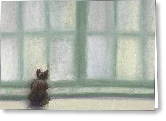 Winter Window Greeting Card by Bernadette Kazmarski
