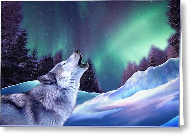 Winter Wolf Greeting Card