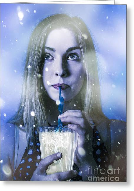 Winter Woman Drinking Ice Cold Drink Greeting Card by Jorgo Photography - Wall Art Gallery