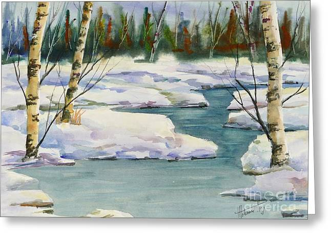 Cool Winter -  Watercolour Greeting Card by Mohamed Hirji