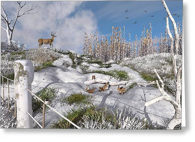 Winter Wonderland Bunnies Greeting Card by Mary Almond