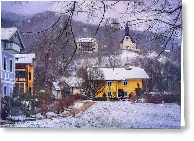 Winter Wonderland In Mondsee Austria  Greeting Card by Carol Japp