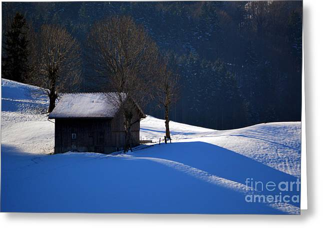 Winter Wonderland In Switzerland - The Barn In The Snow Greeting Card