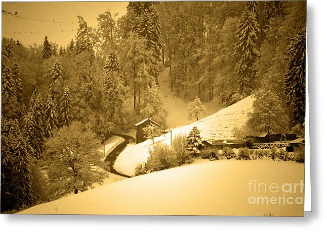 Greeting Card featuring the photograph Winter Wonderland In Switzerland - Up The Hills by Susanne Van Hulst