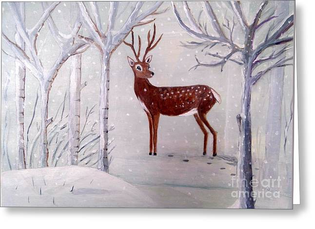Winter Wonderland - Painting Greeting Card by Veronica Rickard
