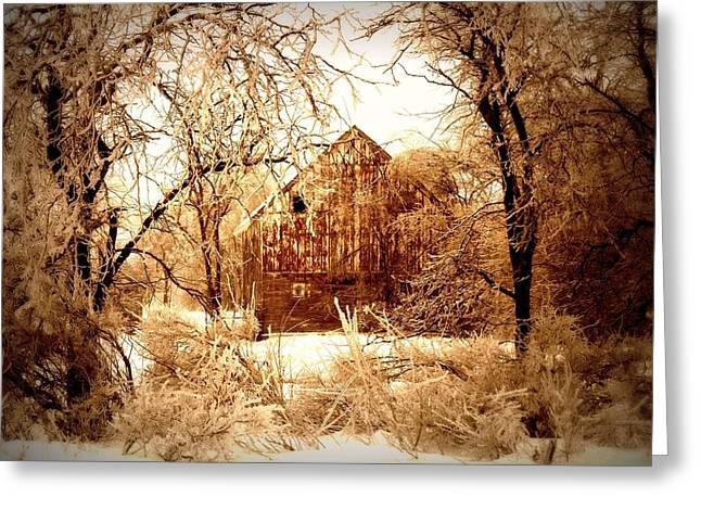 Rural Decay Digital Art Greeting Cards - Winter Wonderland Sepia Greeting Card by Julie Hamilton