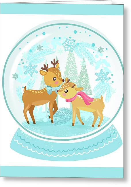 Winter Wonderland Snow Globe Greeting Card by Little Bunny Sunshine