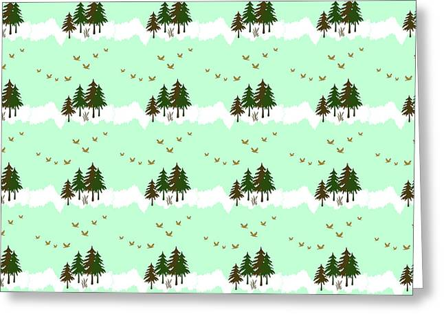 Greeting Card featuring the mixed media Winter Woodlands Bird Pattern by Christina Rollo