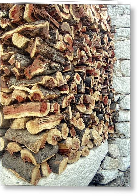 Winter Woodpile Greeting Card